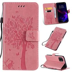 Embossing Butterfly Tree Leather Wallet Case for iPhone 11 (6.1 inch) - Pink