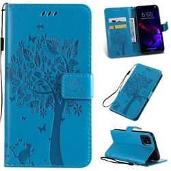 Embossing Butterfly Tree Leather Wallet Case for iPhone 11 (6.1 inch) - Blue