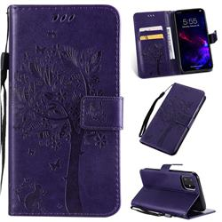 Embossing Butterfly Tree Leather Wallet Case for iPhone 11 (6.1 inch) - Purple