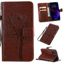 Embossing Butterfly Tree Leather Wallet Case for iPhone 11 (6.1 inch) - Coffee