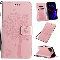 Embossing Butterfly Tree Leather Wallet Case for iPhone 11 (6.1 inch) - Rose Pink