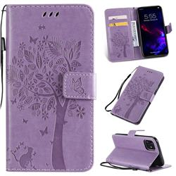 Embossing Butterfly Tree Leather Wallet Case for iPhone 11 (6.1 inch) - Violet