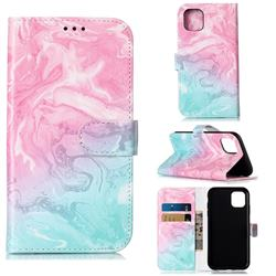 Pink Green Marble PU Leather Wallet Case for iPhone 11 (6.1 inch)