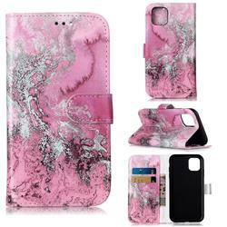 Pink Seawater PU Leather Wallet Case for iPhone 11 (6.1 inch)