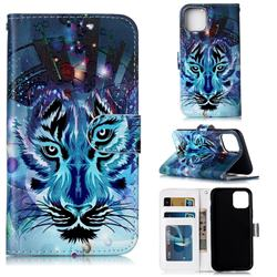 Ice Wolf 3D Relief Oil PU Leather Wallet Case for iPhone 11 (6.1 inch)
