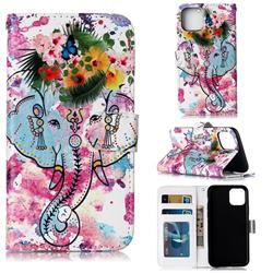 Flower Elephant 3D Relief Oil PU Leather Wallet Case for iPhone 11 (6.1 inch)