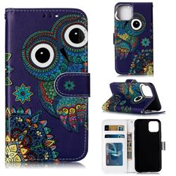 Folk Owl 3D Relief Oil PU Leather Wallet Case for iPhone 11 (6.1 inch)
