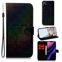 Laser Circle Shining Leather Wallet Phone Case for iPhone 11 (6.1 inch) - Black