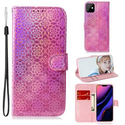 Laser Circle Shining Leather Wallet Phone Case for iPhone 11 (6.1 inch) - Pink
