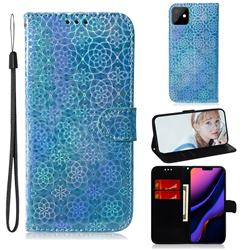 Laser Circle Shining Leather Wallet Phone Case for iPhone 11 (6.1 inch) - Blue