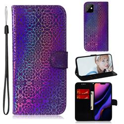 Laser Circle Shining Leather Wallet Phone Case for iPhone 11 (6.1 inch) - Purple