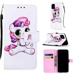 Playful Pony Matte Leather Wallet Phone Case for iPhone 11 (6.1 inch)