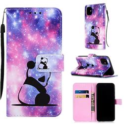 Panda Baby Matte Leather Wallet Phone Case for iPhone 11 (6.1 inch)