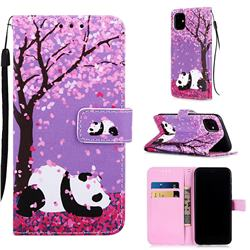 Cherry Blossom Panda Matte Leather Wallet Phone Case for iPhone 11 (6.1 inch)