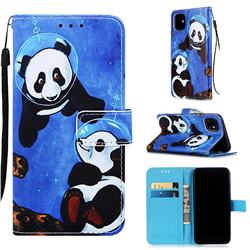 Undersea Panda Matte Leather Wallet Phone Case for iPhone 11 (6.1 inch)