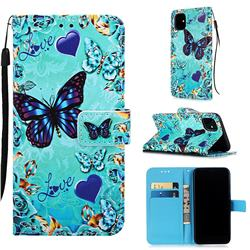 Love Butterfly Matte Leather Wallet Phone Case for iPhone 11 (6.1 inch)
