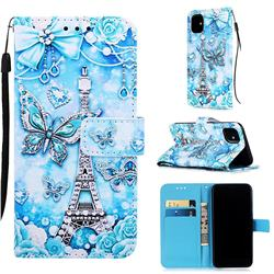 Tower Butterfly Matte Leather Wallet Phone Case for iPhone 11 (6.1 inch)