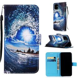 Waves and Sun Matte Leather Wallet Phone Case for iPhone 11 (6.1 inch)