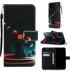 Wandering Earth Matte Leather Wallet Phone Case for iPhone 11 (6.1 inch)