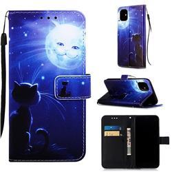 Cat and Moon Matte Leather Wallet Phone Case for iPhone 11 (6.1 inch)