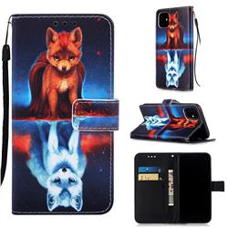 Water Fox Matte Leather Wallet Phone Case for iPhone 11 (6.1 inch)