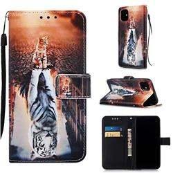 Cat and Tiger Matte Leather Wallet Phone Case for iPhone 11 (6.1 inch)