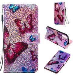 Blue Butterfly Sequins Painted Leather Wallet Case for iPhone 11 (6.1 inch)