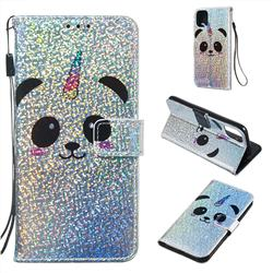 Panda Unicorn Sequins Painted Leather Wallet Case for iPhone 11 (6.1 inch)