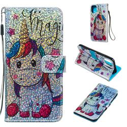 Star Unicorn Sequins Painted Leather Wallet Case for iPhone 11 (6.1 inch)