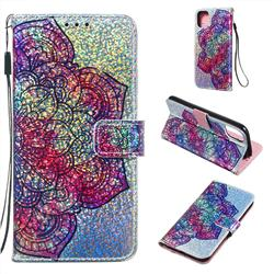 Glutinous Flower Sequins Painted Leather Wallet Case for iPhone 11 (6.1 inch)