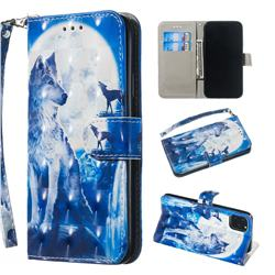 Ice Wolf 3D Painted Leather Wallet Phone Case for iPhone 11 (6.1 inch)