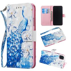 Blue Peacock 3D Painted Leather Wallet Phone Case for iPhone 11 (6.1 inch)