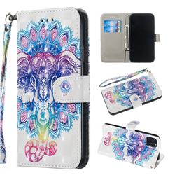 Colorful Elephant 3D Painted Leather Wallet Phone Case for iPhone 11 (6.1 inch)