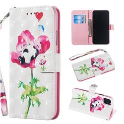 Flower Panda 3D Painted Leather Wallet Phone Case for iPhone 11 (6.1 inch)