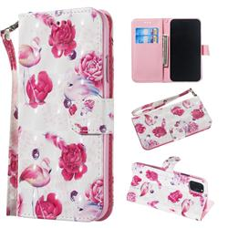 Flamingo 3D Painted Leather Wallet Phone Case for iPhone 11 (6.1 inch)