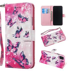 Pink Butterfly 3D Painted Leather Wallet Phone Case for iPhone 11 (6.1 inch)