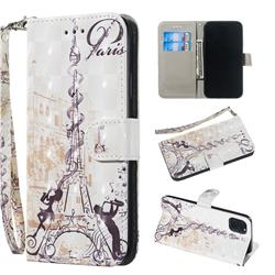 Tower Couple 3D Painted Leather Wallet Phone Case for iPhone 11 (6.1 inch)