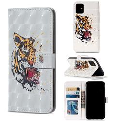 Toothed Tiger 3D Painted Leather Phone Wallet Case for iPhone 11 (6.1 inch)