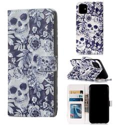 Skull Flower 3D Painted Leather Phone Wallet Case for iPhone 11 (6.1 inch)