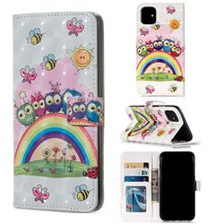 Rainbow Owl Family 3D Painted Leather Phone Wallet Case for iPhone 11 (6.1 inch)
