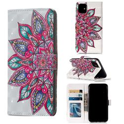 Mandara Flower 3D Painted Leather Phone Wallet Case for iPhone 11 (6.1 inch)
