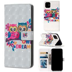 Couple Owl 3D Painted Leather Phone Wallet Case for iPhone 11 (6.1 inch)
