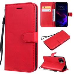 Retro Greek Classic Smooth PU Leather Wallet Phone Case for iPhone 11 (6.1 inch) - Red
