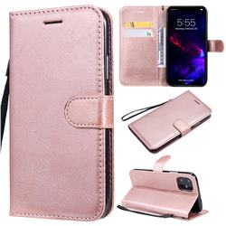Retro Greek Classic Smooth PU Leather Wallet Phone Case for iPhone 11 (6.1 inch) - Rose Gold