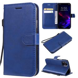 Retro Greek Classic Smooth PU Leather Wallet Phone Case for iPhone 11 (6.1 inch) - Blue