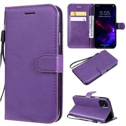 Retro Greek Classic Smooth PU Leather Wallet Phone Case for iPhone 11 (6.1 inch) - Purple