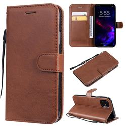 Retro Greek Classic Smooth PU Leather Wallet Phone Case for iPhone 11 (6.1 inch) - Brown