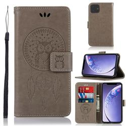 Intricate Embossing Owl Campanula Leather Wallet Case for iPhone 11 (6.1 inch) - Grey