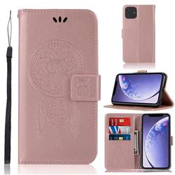 Intricate Embossing Owl Campanula Leather Wallet Case for iPhone 11 (6.1 inch) - Rose Gold