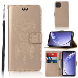 Intricate Embossing Owl Campanula Leather Wallet Case for iPhone 11 (6.1 inch) - Champagne